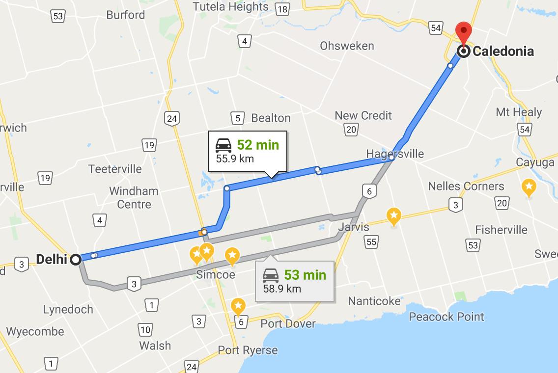 delhi Ontario to Caledonia